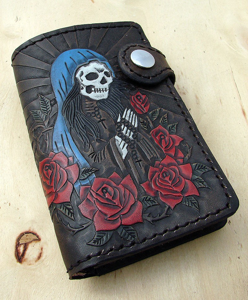 Bifold cow leather wallet biker style with Santa MuerteAnother Way of Life
