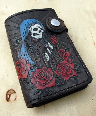Bifold cow leather wallet biker style with Santa Muerte Another Way of Life