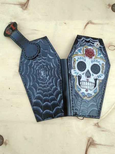 Handmade Coffin shaped wallet Sugar Skull another way of life 1