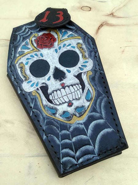 Handmade Coffin shaped wallet Sugar Skull another way of life