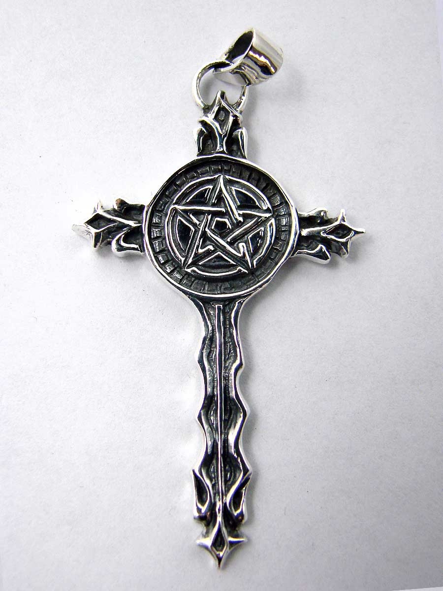 Cross with pentagram in sterling silver - Another Way of Life