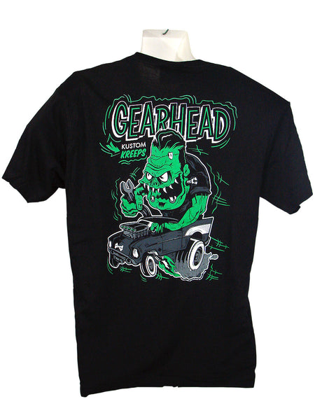 Men's Black T-Shirt Gear Head Back