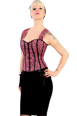 Corset bodice top Oi Oi Pink Leopard Print by Hell BunnyAnother Way of Life