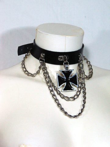 Gothic Leather Choker with Black Iron Cross another way of life