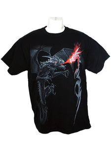 Men's Black T-Shirt Dragon Blaze