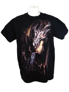 Men's Black T-Shirt Dragon Maiden