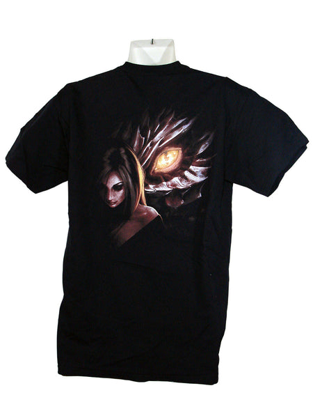 Men's Black T-Shirt Dragon Maiden Back