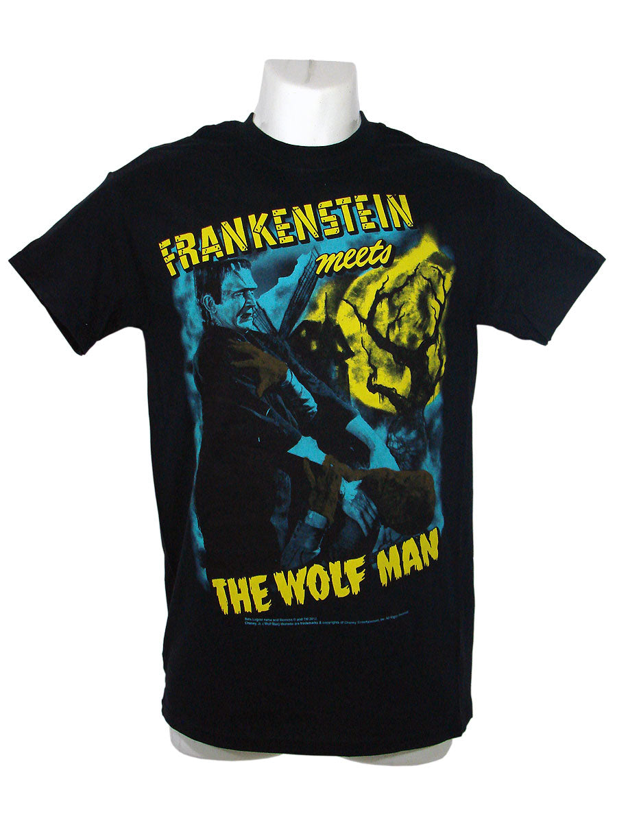 Men's Black T-Shirt Frank Meets Wolfman