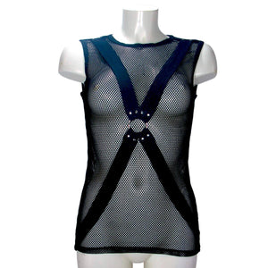 Unisex fishnet shirt with X and O-ring By Lip Service
