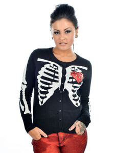 Spike Rib Cage Black Cardigan by Too Fast - Another Way of Life