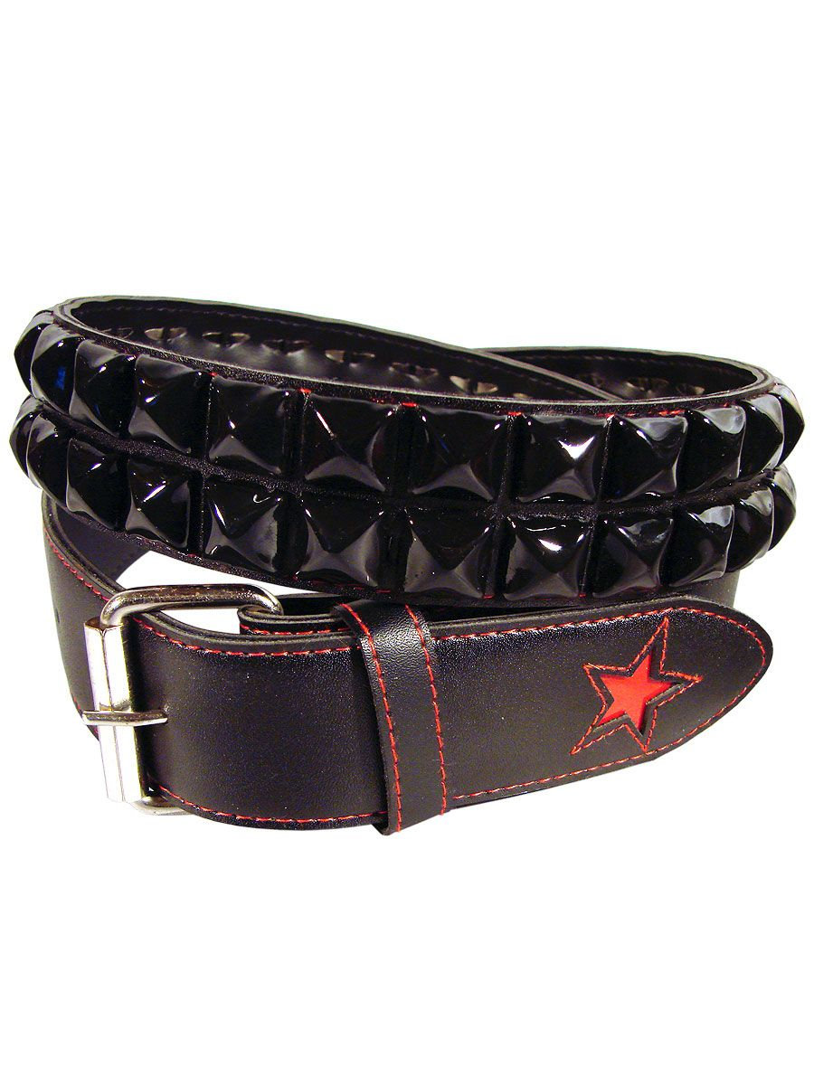 Gothic rock leather belt with two rows black studded Another Way of Life