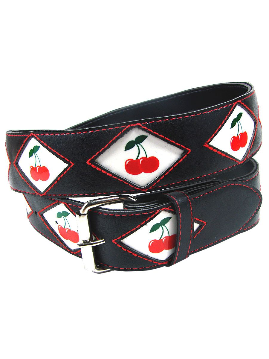 Woman's black leather belt with cherries sewn in red Another Way of Life