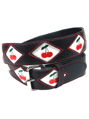 Black leather belt with cherries sewn in red - Another Way of Life