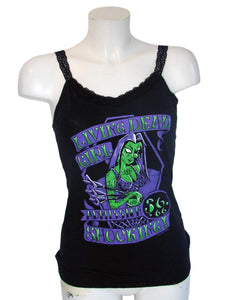 Women's Black Top With Lace Straps Living Dead Girl