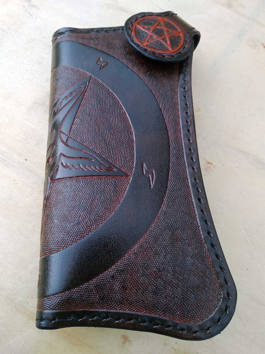 Handmade Leather Wallet Baphomet biker-style By Another Way of Life