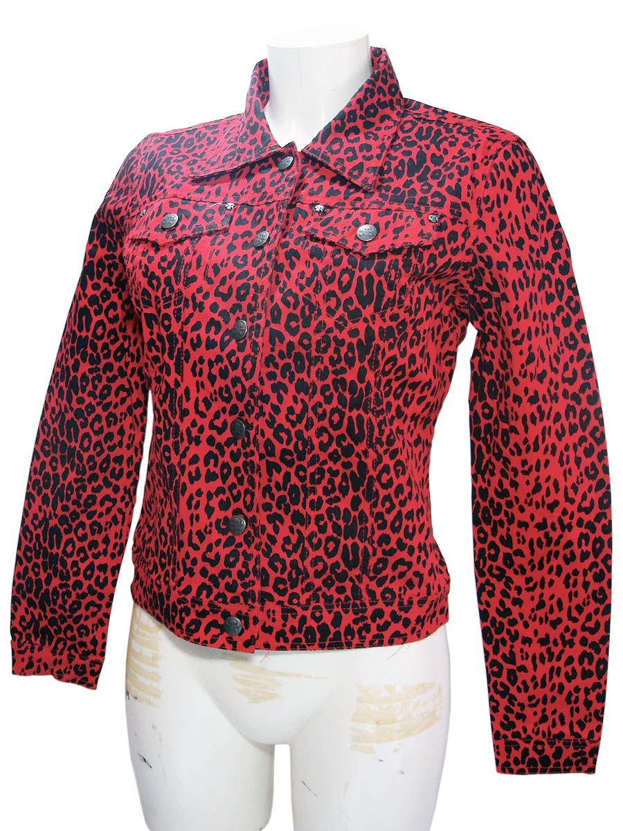 Woman's Leopard Red Punk Rock Denim Jacket by Tripp NYCAnother Way of Life