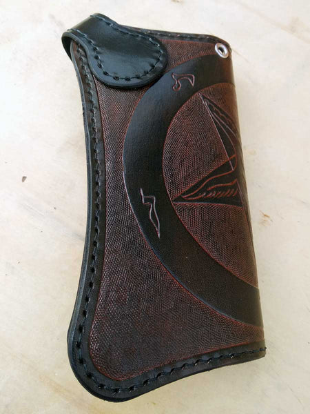 Handmade Leather Wallet Baphomet biker-style By Another Way of Life 1
