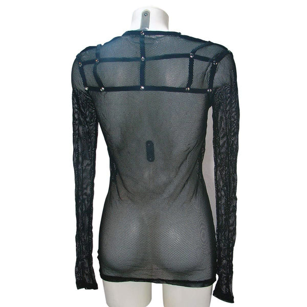 Fishnet long sleeve fishnet shirt with caged shoulders and back