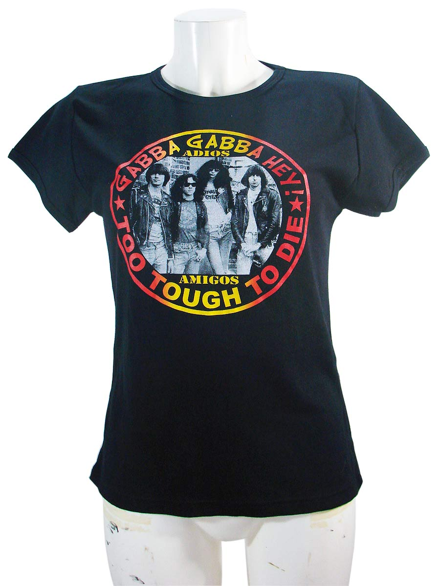 Ramones Womens Black Slim T-Shirt Adios Amigos.