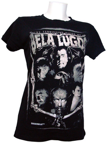 Women's Black T-shirt Terrifying Faces of Bela Lugosi