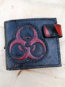 biohazard man's wallet post-apocalyptic handmade
