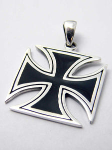 Gothic pendant black Iron cross in Sterling silver - Another Way of Life