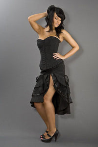 Burleska Devine pinstripe hook and eye overbust corset in black taffeta Another Way of Life