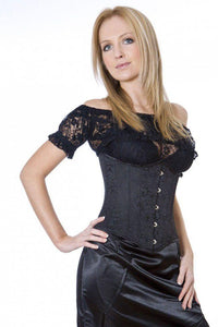 Burleska Candy underbust steel boned waist training corset in black brocade Another Way of Life