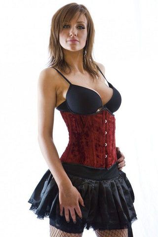 Burleska Candy underbust steel boned corset in red velvet Another Way of Life