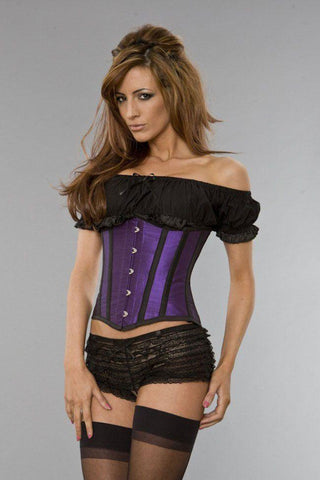 Burleska Candy underbust corset in purple taffeta black piping Another Way of Life