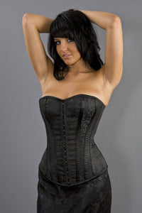 Burleska  Devine overbust lace up corset in black brocade Another Way of Life