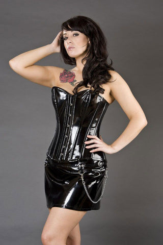 Burleska Elegant overbust corset in black PVC Another Way of Life