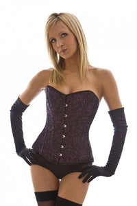 Burleska Elegant overbust corset in purple brocade Another Way of Life