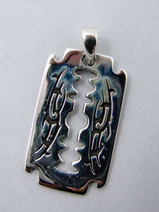 925 Sterling silver Razor Blade pendant with tribal designsAnother Way of Life