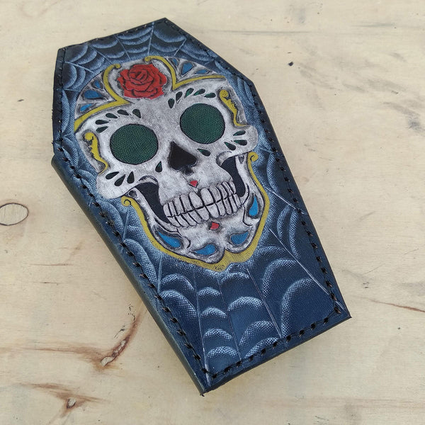 Cow leather wallet style biker coffin sugar skull black