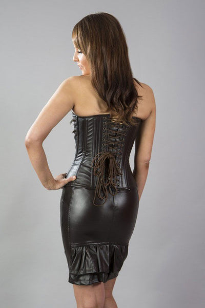 Burleska  Kaiten overbust faux leather corset in matte brownAnother Way of Life