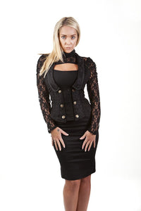 Burleska Melissa gothic waistcoat in black twill Another Way of Life