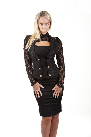 Burleska Melissa gothic waistcoat in black twillAnother Way of Life