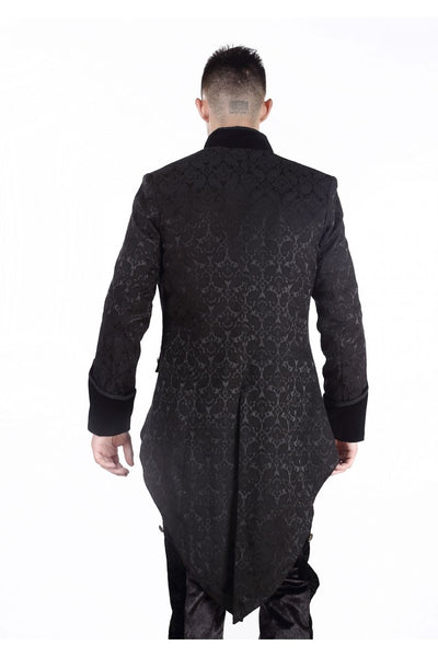 Pentagramme Black Gothic Brocade Men's Victorian Coat