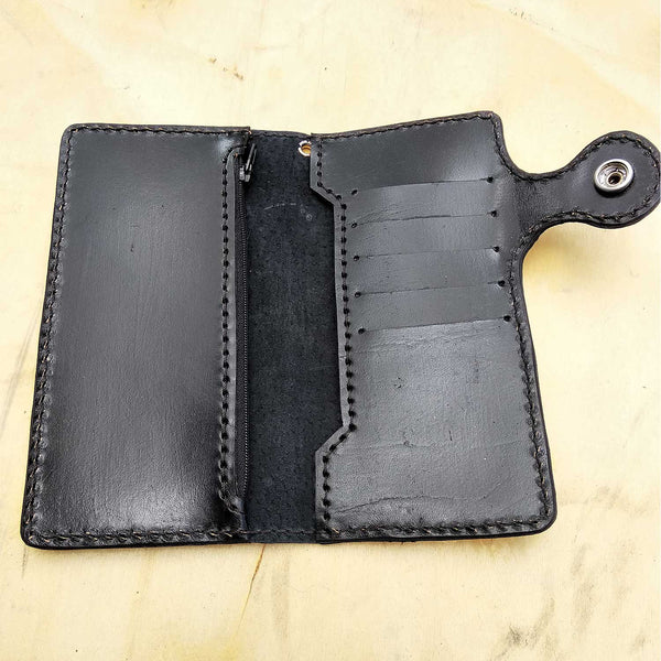 Cow leather wallet style biker with skull 2