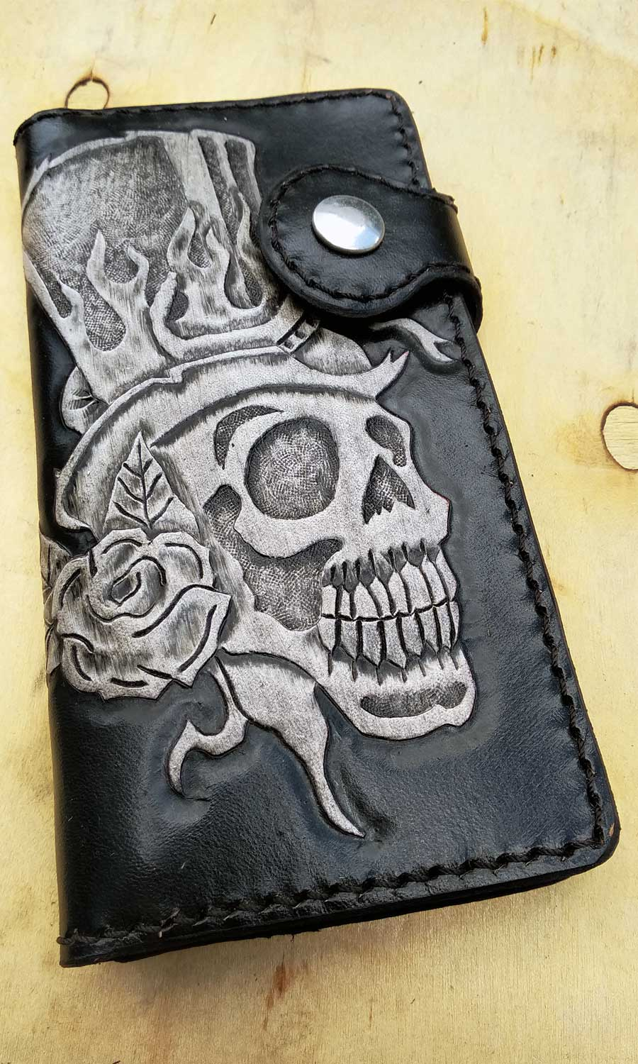Cow leather wallet style biker with skull by another way of life