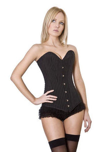 Burleska Victorian overbust long line corset in pinstripe Another Way of Life