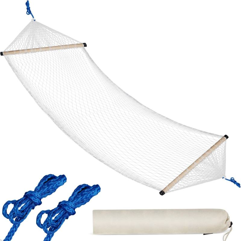 10 FT Traditional Nylon Rope Hammock with Free Hanging Rope and Carry Bag Small Net Hammock Lightweight Hammocks - INNO STAGE