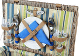 2 Person  Woven Wicker Picnic Basket  with Utensils Cutlery Green Stripe - INNO STAGE
