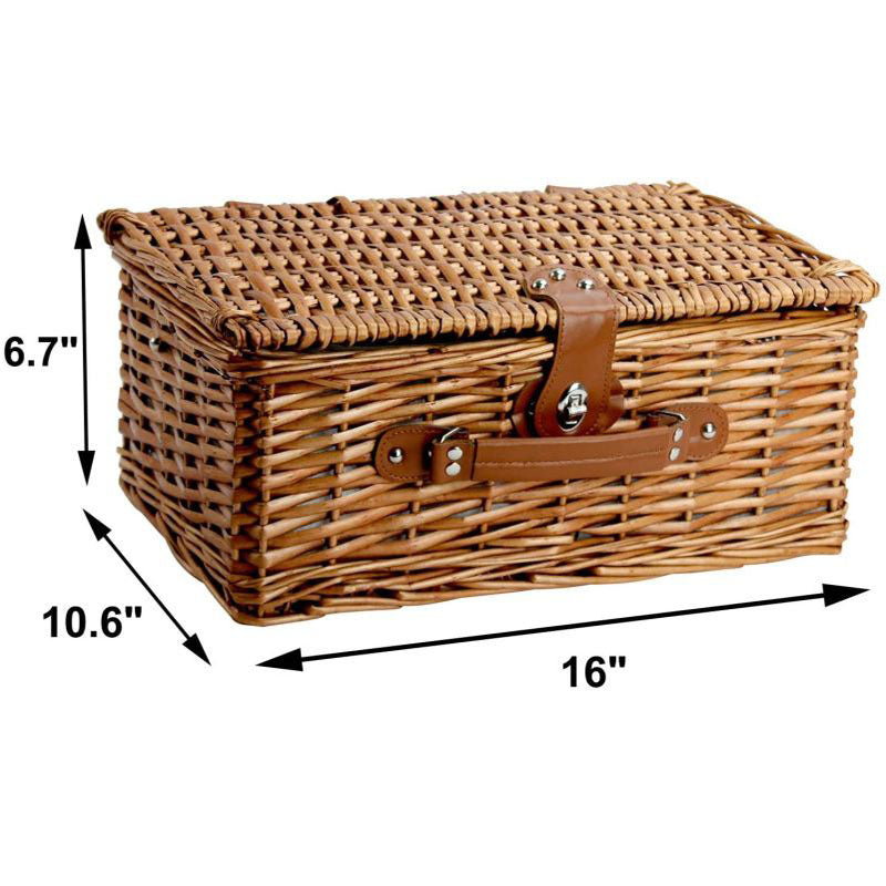 2 Person Willow Hamper Picnic Basket with Cooler Grey Stripe - INNO STAGE