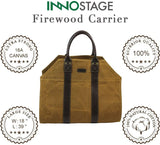 Firewood Log Carrier Tote Bag Waxed Canvas Fire Wood Carrying Hay Hauling Holder for Fireplace Stove Accessories Indoor Outdoor CampingCarrier (may arrive after Christmas) - INNO STAGE