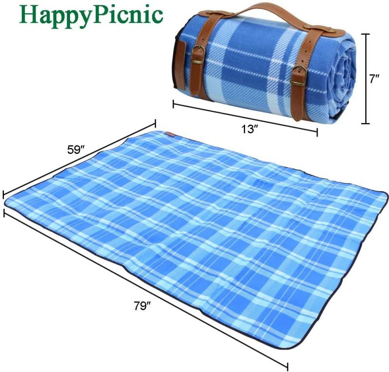 "Extra Large Camping Blanket Soft Fleece Rug Waterproof Backing Blue 79"" x 59"" - INNO STAGE"
