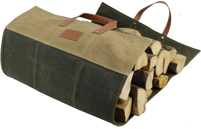 Fireplace Carrier Waxed Canvas Firewood Logs Holder with Reinforce Handles Khaki/Green - INNO STAGE