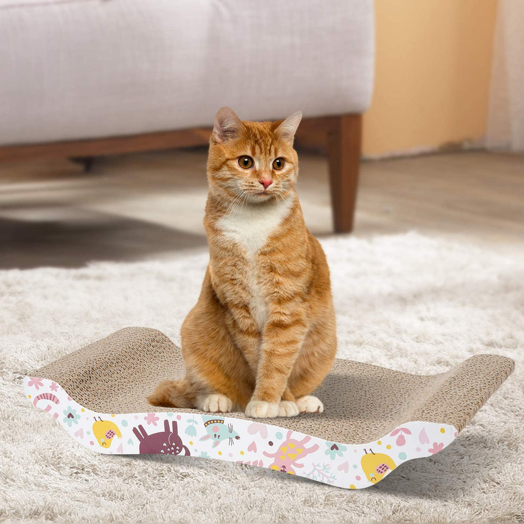 WANTRYAPET 2 Pack Cat Scratcher Cardboard,Scratch Pad with Different Scratch Textures Design,Scratching Pad Reversible - INNO STAGE