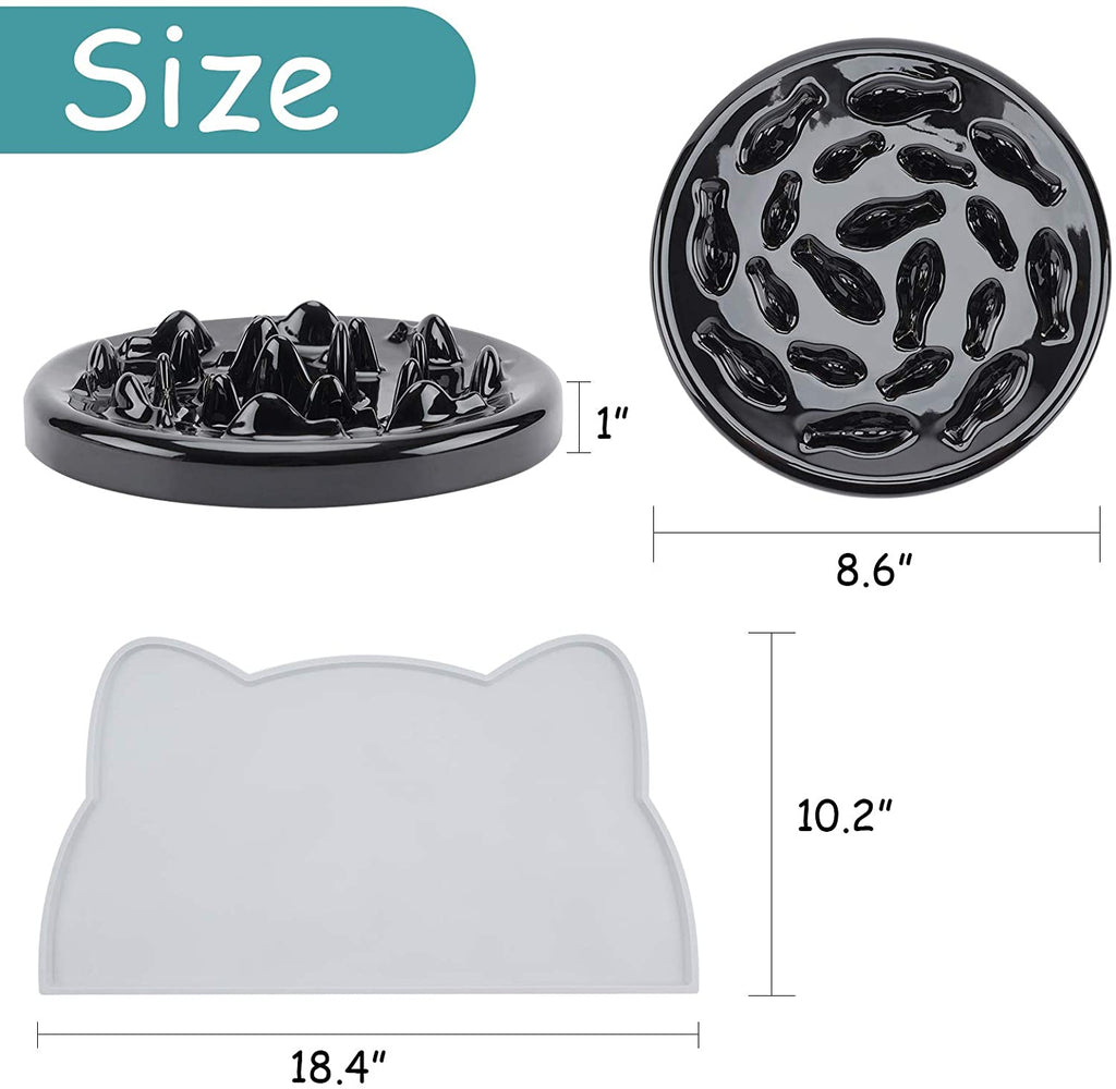WANTRYAPET Dog Feeder Slow Bowl + Non-Slip Dog Bowl Mats, Ceramic Fun Slow Feed Interactive Bloat Stop Dog Bowl - INNO STAGE